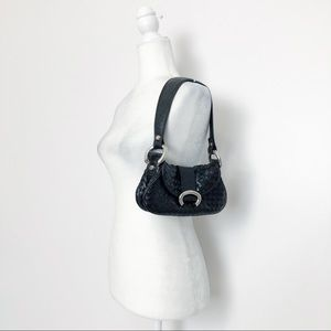 Francesco Biasia Black Woven Leather Mini Hobo Bag